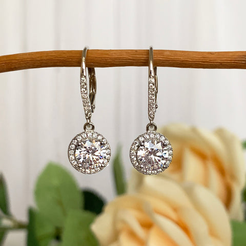 4 ctw Round Leverback Earrings - 30% Final Sale