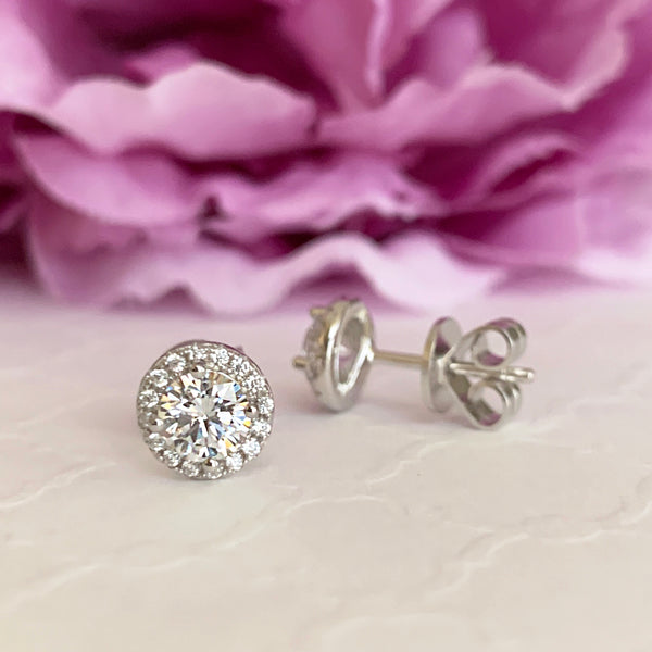 1 ctw Round Halo Stud Earrings