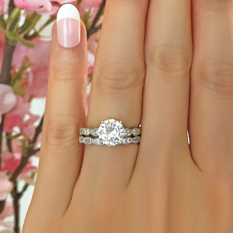 7 ctw 3 ct Center Classic V Style Eternity Solitaire Set
