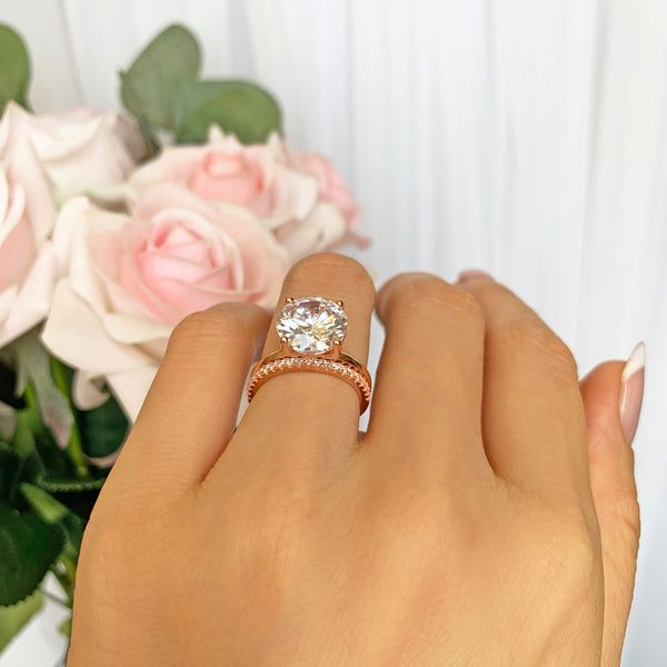 4 ct Classic Solitaire Bridal Set - Rose GP - 40% Final Sale