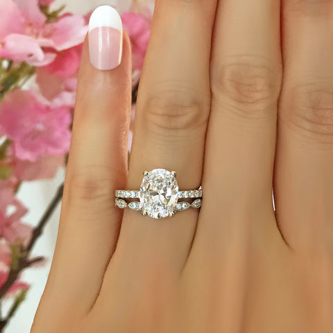 2.25 ctw Oval Accented Half Eternity Solitaire Set- Rose GP
