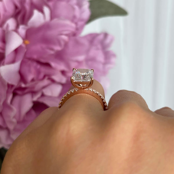3.75 ctw Radiant Accented Solitaire Ring - Rose GP