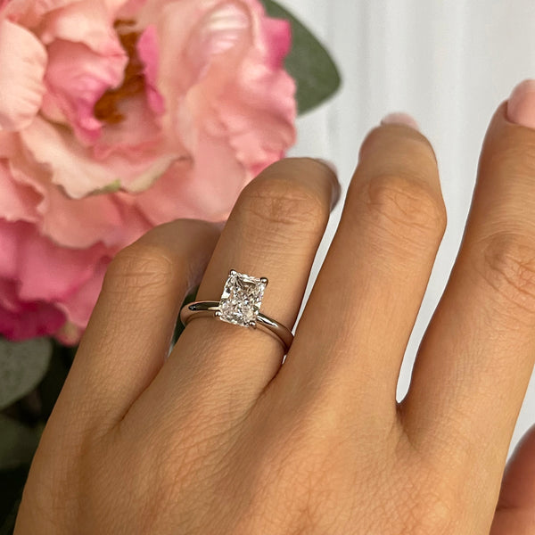 1.75 ct Radiant V Style Classic Solitaire Ring