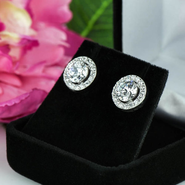 3 ctw Round Halo Earrings