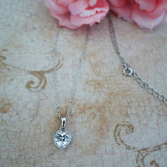 1/2 ctw Dainty Heart Halo Necklace