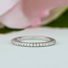 1/3 ctw Small Full Eternity Band - 10k Solid White Gold