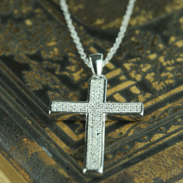 Micropave Large Cross Necklace