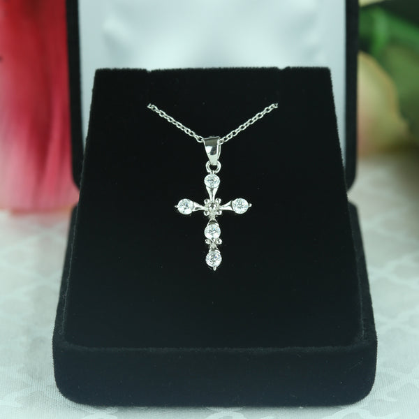 5 Stone Cross Necklace