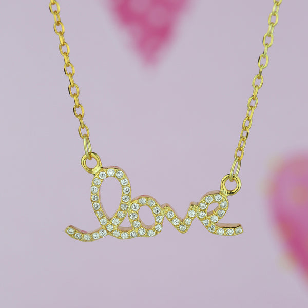 Cursive Love Necklace - Yellow GP