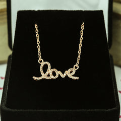 Cursive Love Necklace - Rose GP