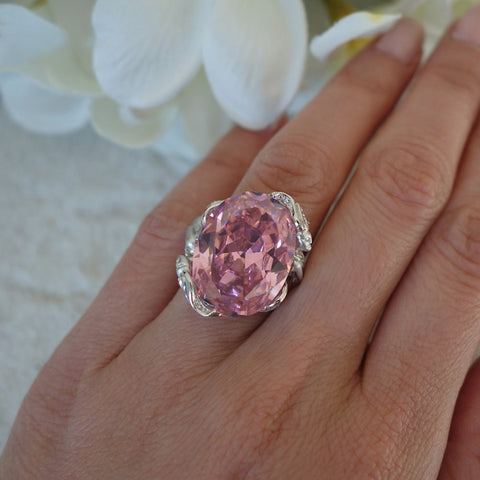 15 ct Oval Cut Pink Mermaid Ring, 40% Final Sale,  Sz, 5 or 6