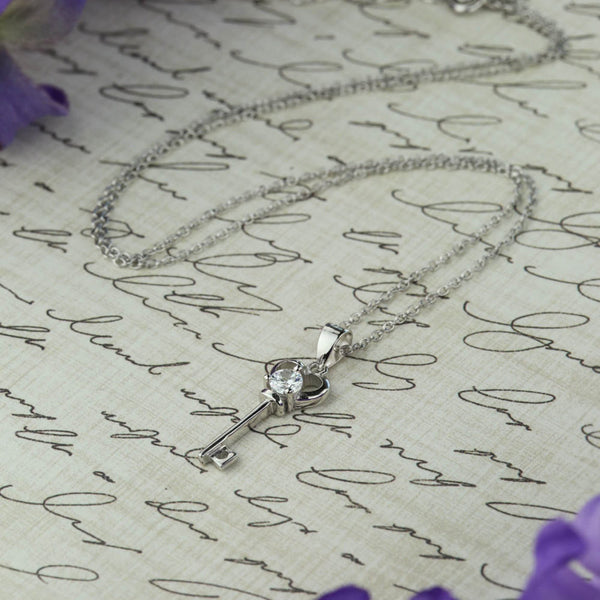 1/4 ct Heart Key Necklace