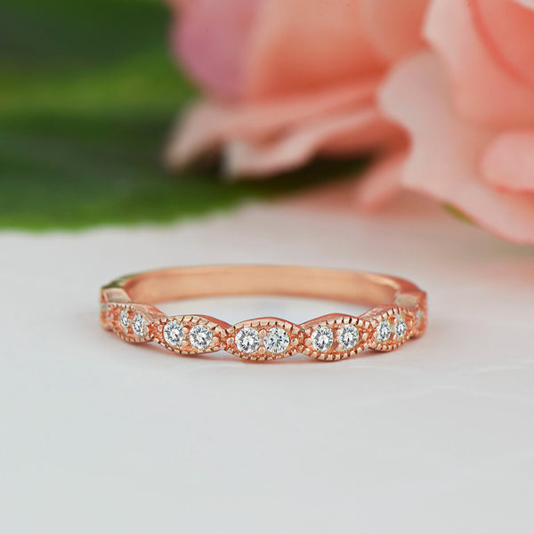 Wide Art Deco Band - Rose GP
