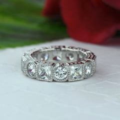 4 ctw Art Deco Princess Eternity Band, Sz 5 or 9