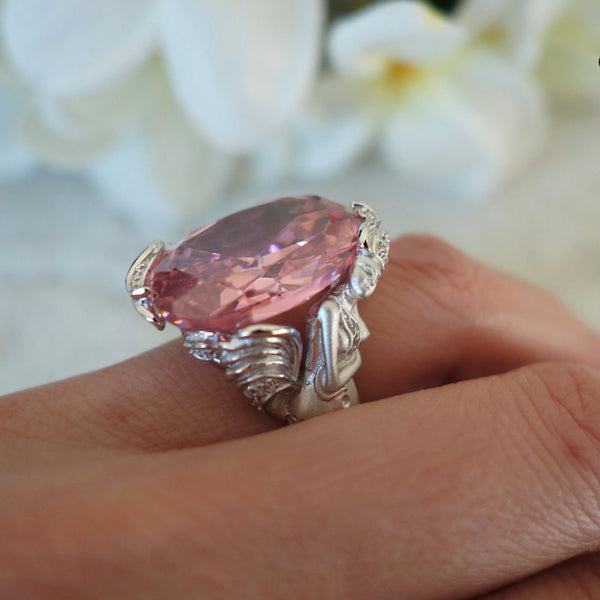15 ct Oval Cut Pink Mermaid Ring - Final Sale