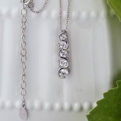1 ctw 5 Stone Swirl Necklace