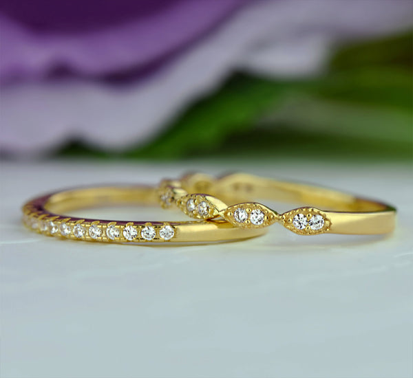 Art Deco Half Eternity Band Set - Yellow GP