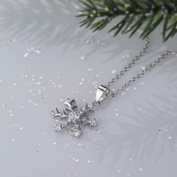 7 Stone Classic Snowflake Necklace