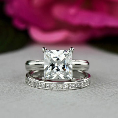 3 ct Swirl Art Deco Solitaire Set