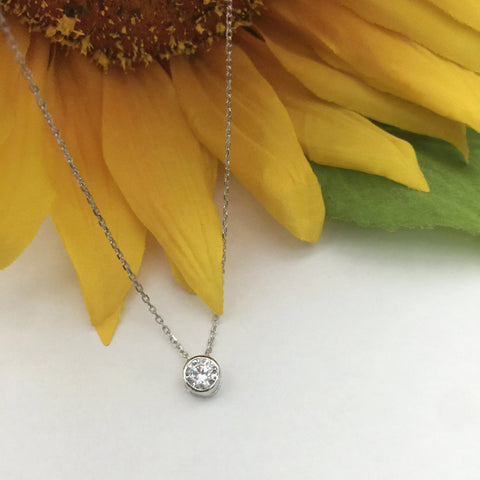 1.25 ct Pear Bezel Necklace