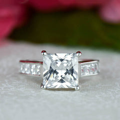 3.5 ctw Princess Channel Solitaire Ring