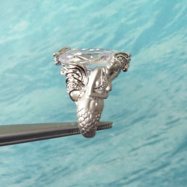 15 ct Oval Cut Mermaid Ring - 40% Final Sale, Sz 5-6