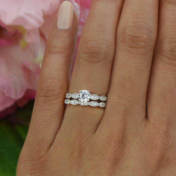 3/4 ctw Wide Art Deco Solitaire Set