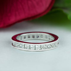 2 ctw Princess Channel Eternity Band, Sz 3 3/4, 40% Final Sale