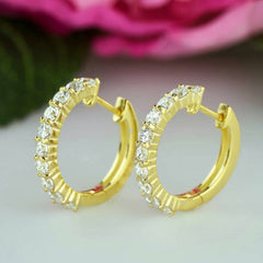 1.5 ctw Hoop Earrings -Yellow Gold