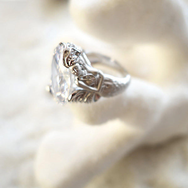 15 ct Oval Cut Mermaid Engagement Ring Tiger Gems