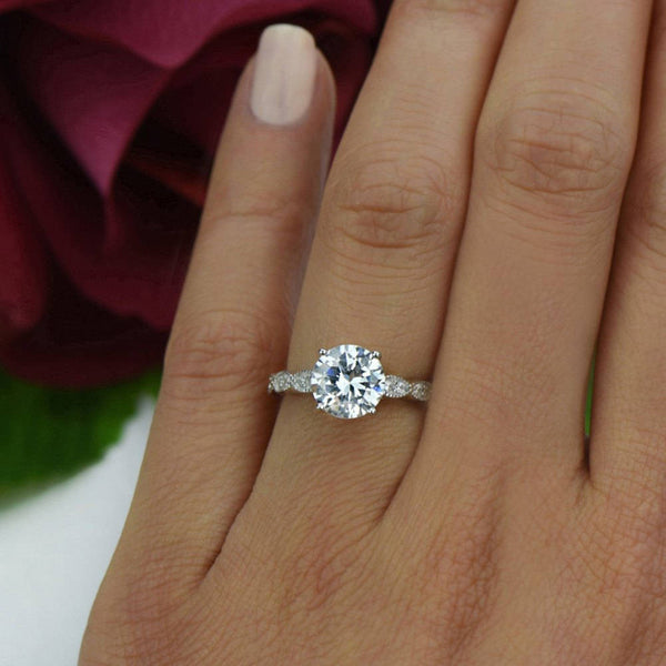 2.25 ctw Wide Art Deco Solitaire Ring, Sz 4 or 9
