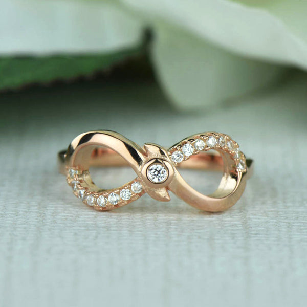 .1 ctw Accented Infinity Ring - Rose GP