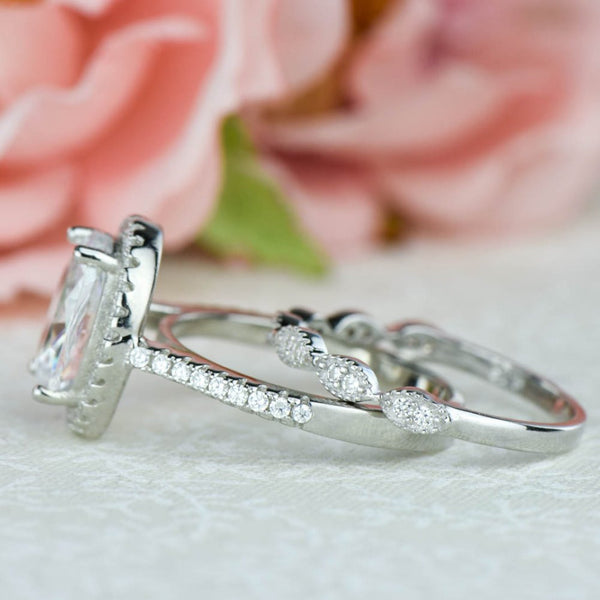 3.25 ctw Art Deco Oval Halo Set