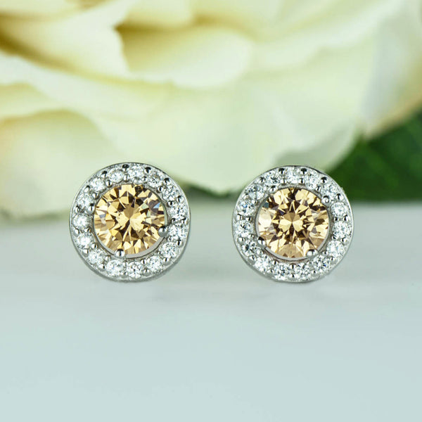 2 ctw Halo Earrings, Champagne Yellow