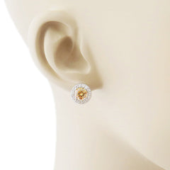 2 ctw Halo Earrings - Champagne Yellow