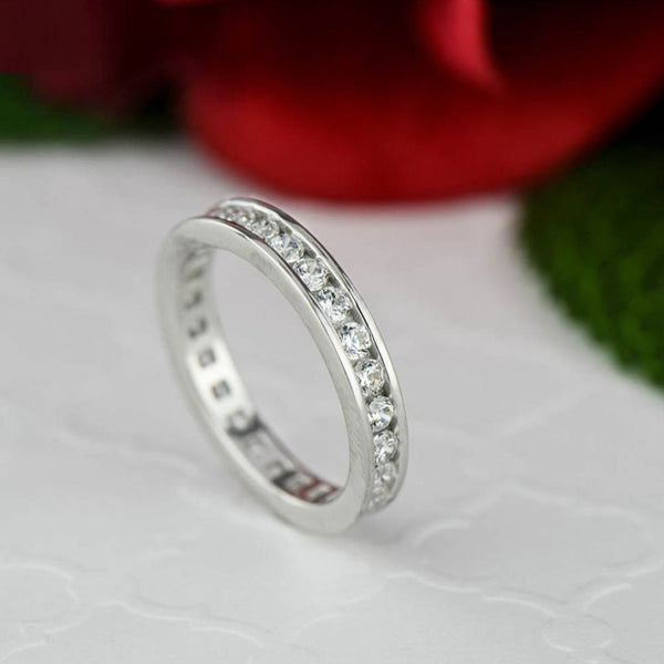 1 ctw Round Channel Eternity Band, Sz 7.5