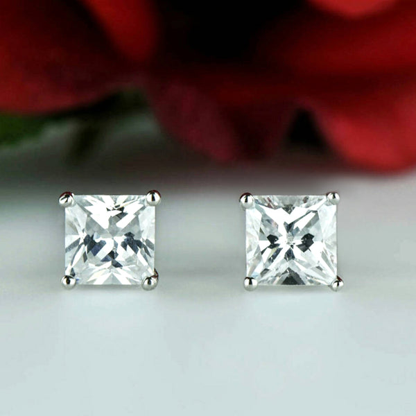 4 ctw Classic Princess Cut Earrings