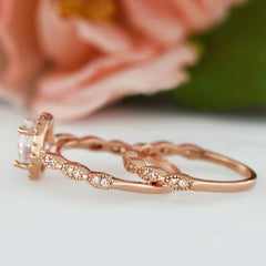 1.25 ctw Art Deco Halo Wedding Set - Rose Gold