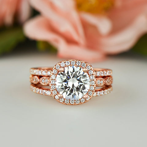 2.25 ctw 3 Band Art Deco Halo Set - Rose Gold