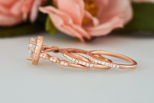 2.25 ctw Art Deco Halo 3 Band Half Eternity Set - Rose GP