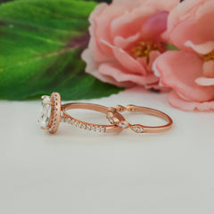 2.25 ctw Art Deco Oval Halo Set - Rose Gold