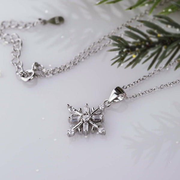 8 Stone Art Deco Snowflake Necklace