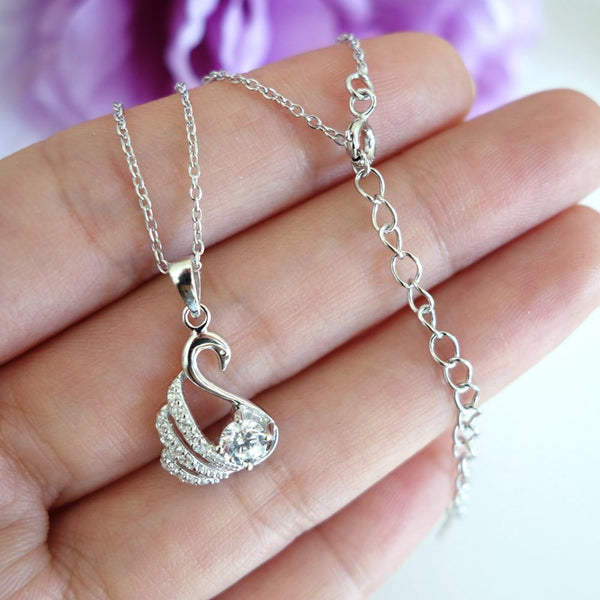 1/2 ct Dainty Swan Necklace - 60% Final Sale