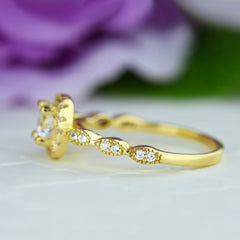 3/4 ctw Art Deco Halo Ring - Yellow GP, 40% Final Sale