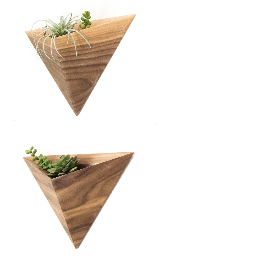 Wall Geometric Planter box, Walnut or Ash