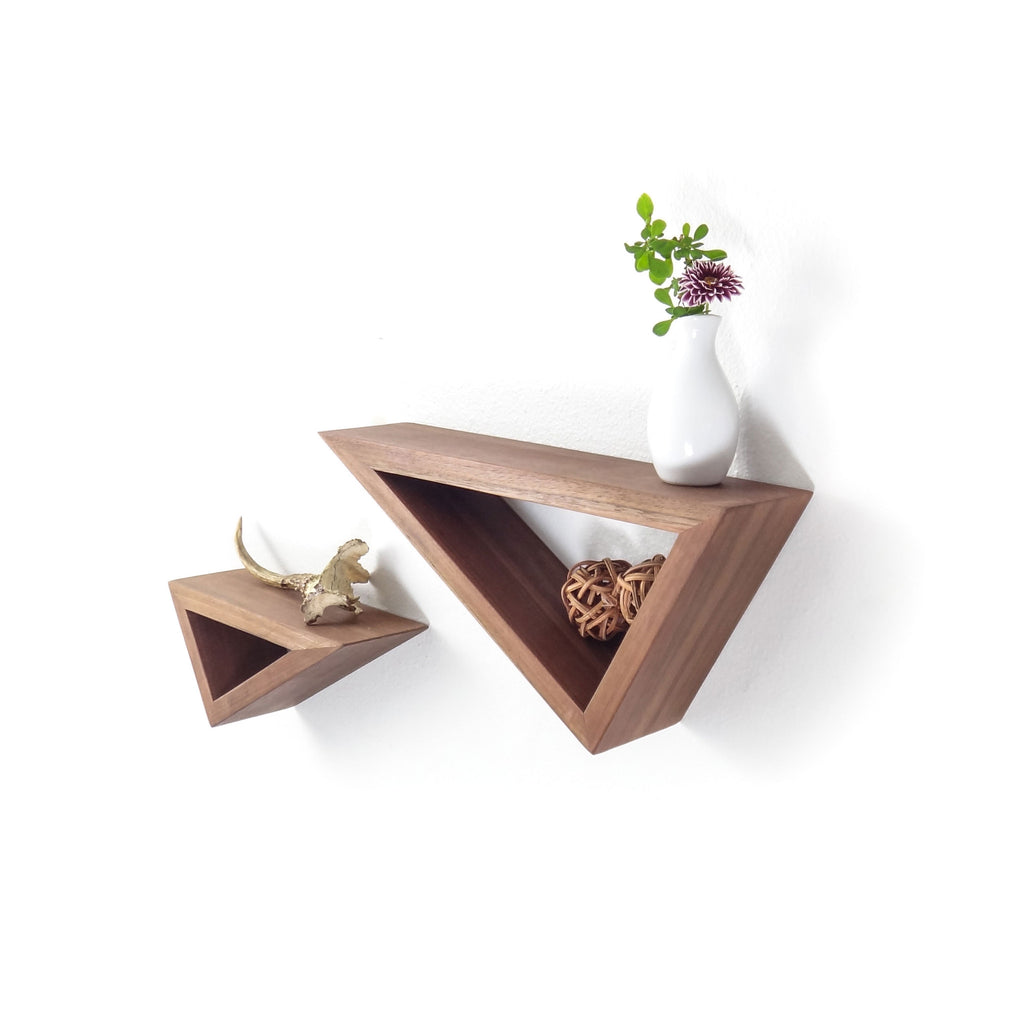 Fernweh Woodworking || Triangular Floating Black Walnut Shelves