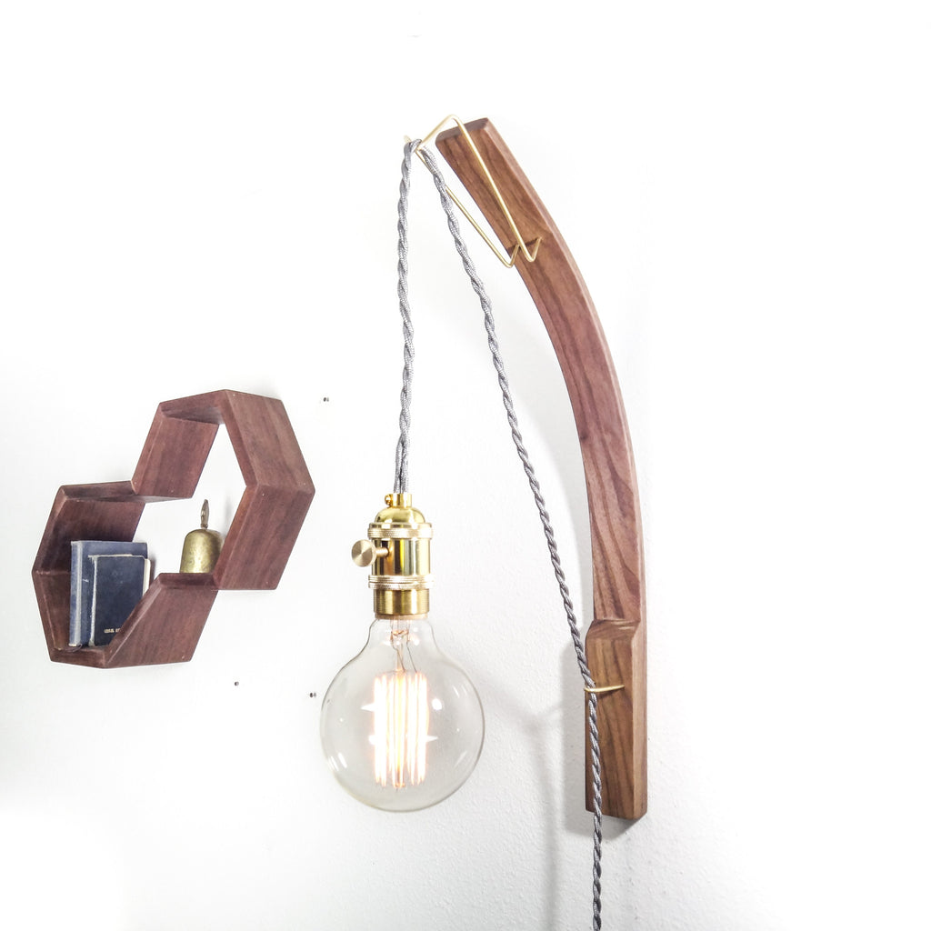 Bent Walnut Pendant Edison Lamp