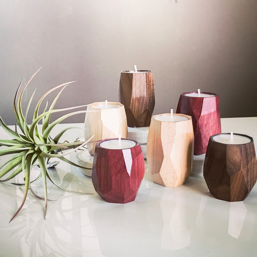 Geometric tea light candle holder