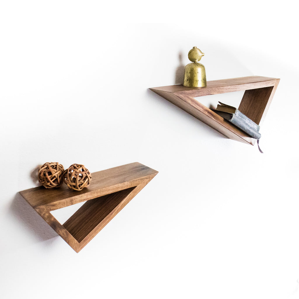 Set of Two: Triangular Floating Black Walnut Shelves