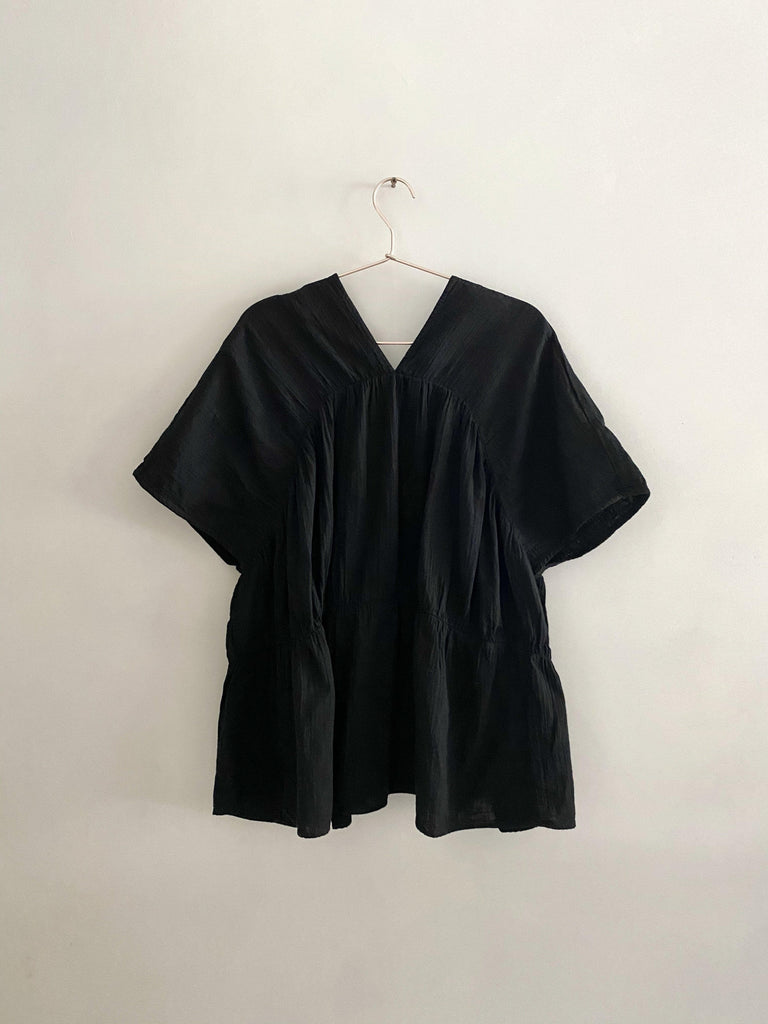 atelier delphine lihue tunic in black cotton gauze